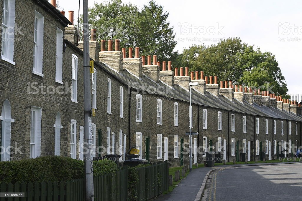 Cambridge England terrace private housing street scene royalty-free stock photo