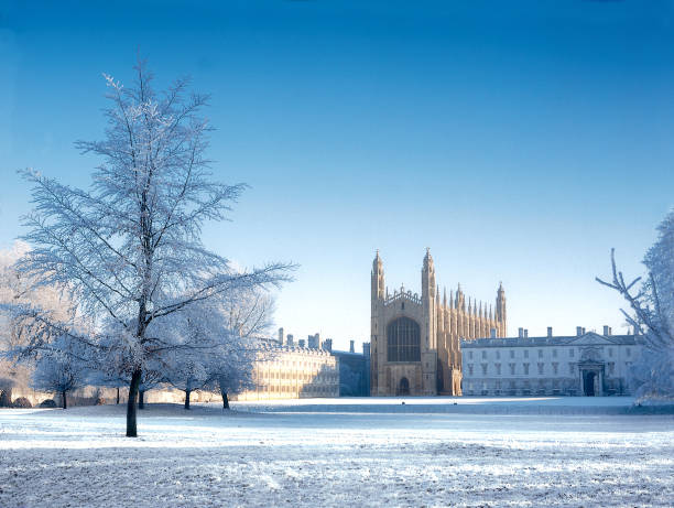 cambridge in the snow. - cambridge university stock photos and pictures