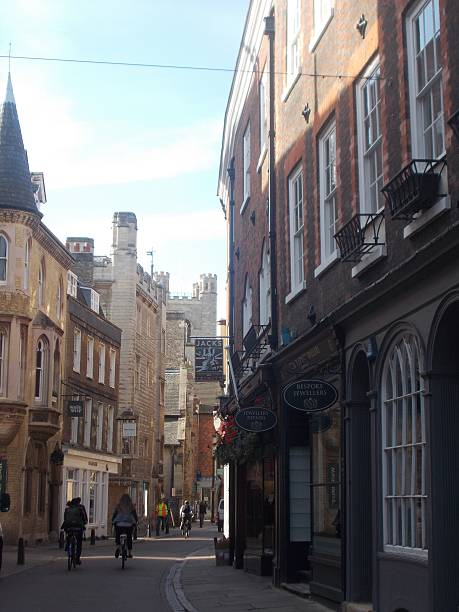 cambridge - little street in the old town stock photo