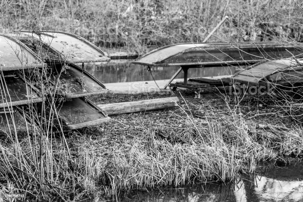 Cambridge punts in Spring. Cambridge punts in Spring stored at Mill Lane punt Station. 2019 Stock Photo