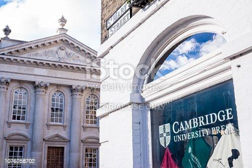 istock Cambridge University Press bookshop shop window exterior in Cambridge city centre with Senate House in the background. 1076258702