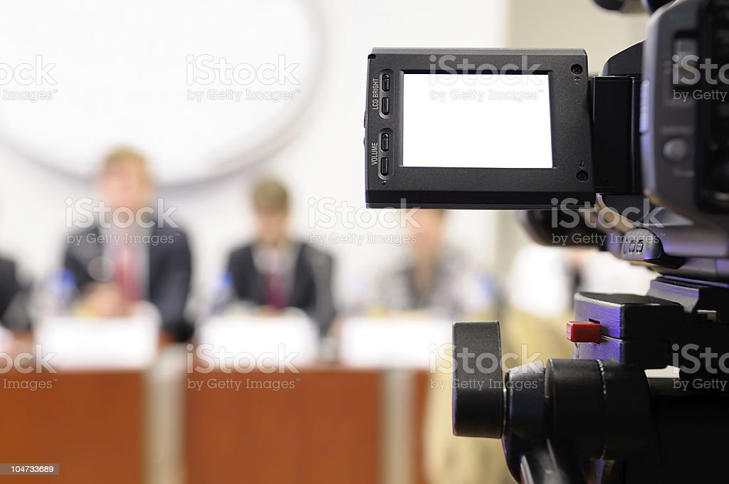 Camcorder at a press conference. royalty-free stock photo