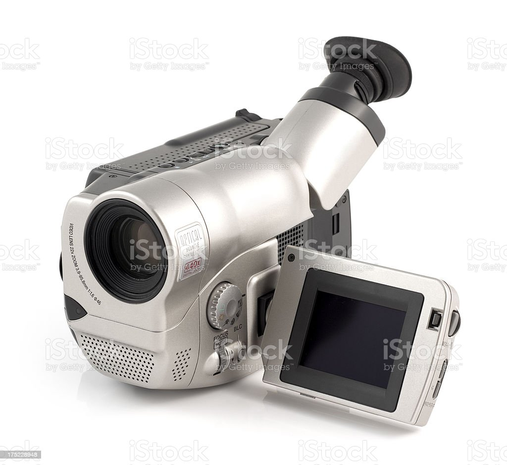 Camcorder electronic home video recording device on a white background stock photo