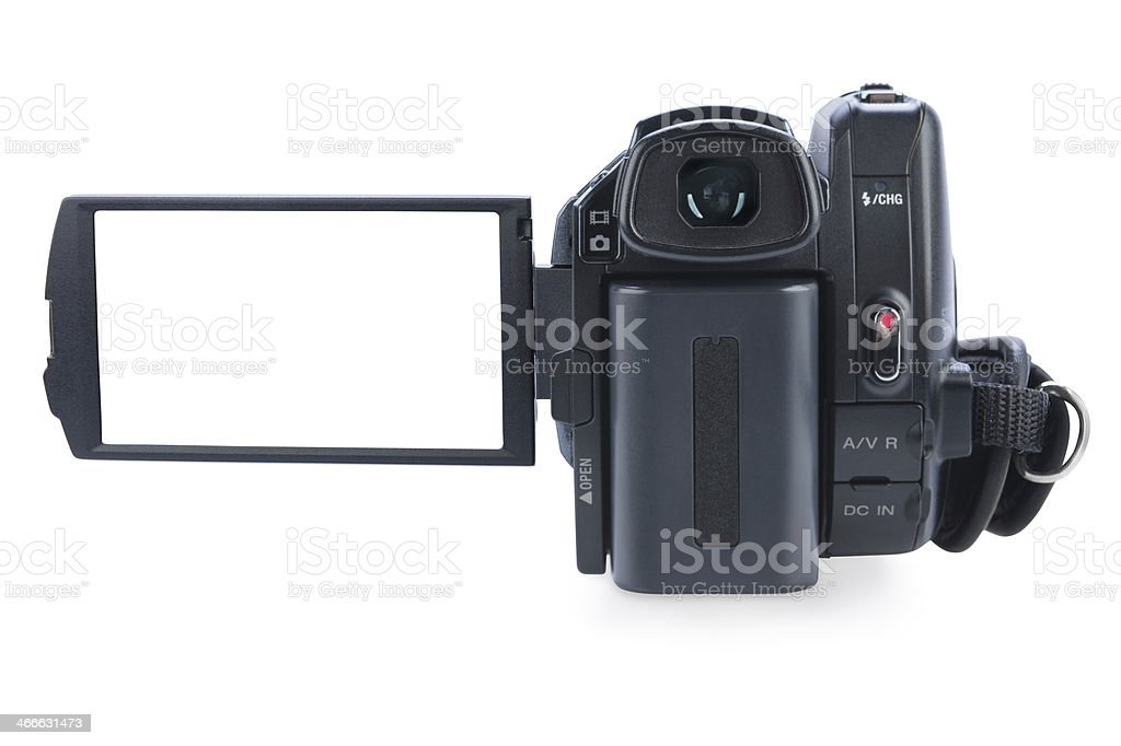 Camcorder with open lcd display, isolated on white. stock photo