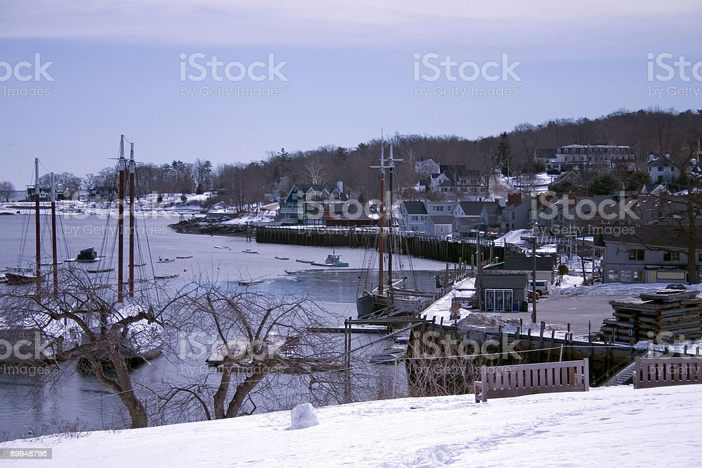 Camden Harbor in Winter 1 royalty-free stock photo