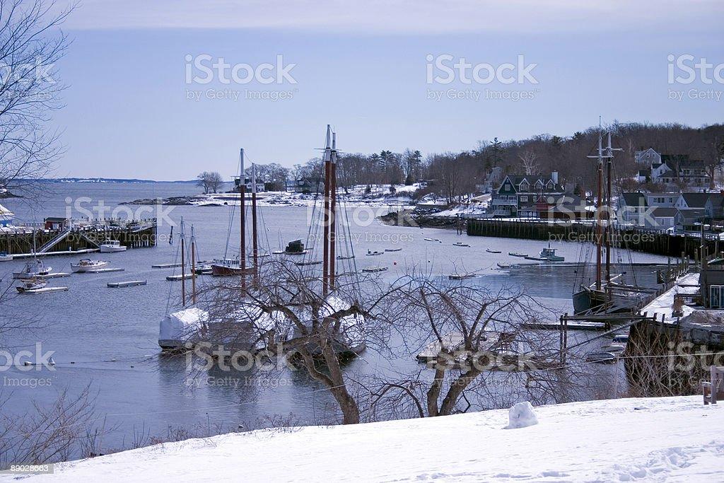 Camden Harbor in Winter 3 royalty-free stock photo