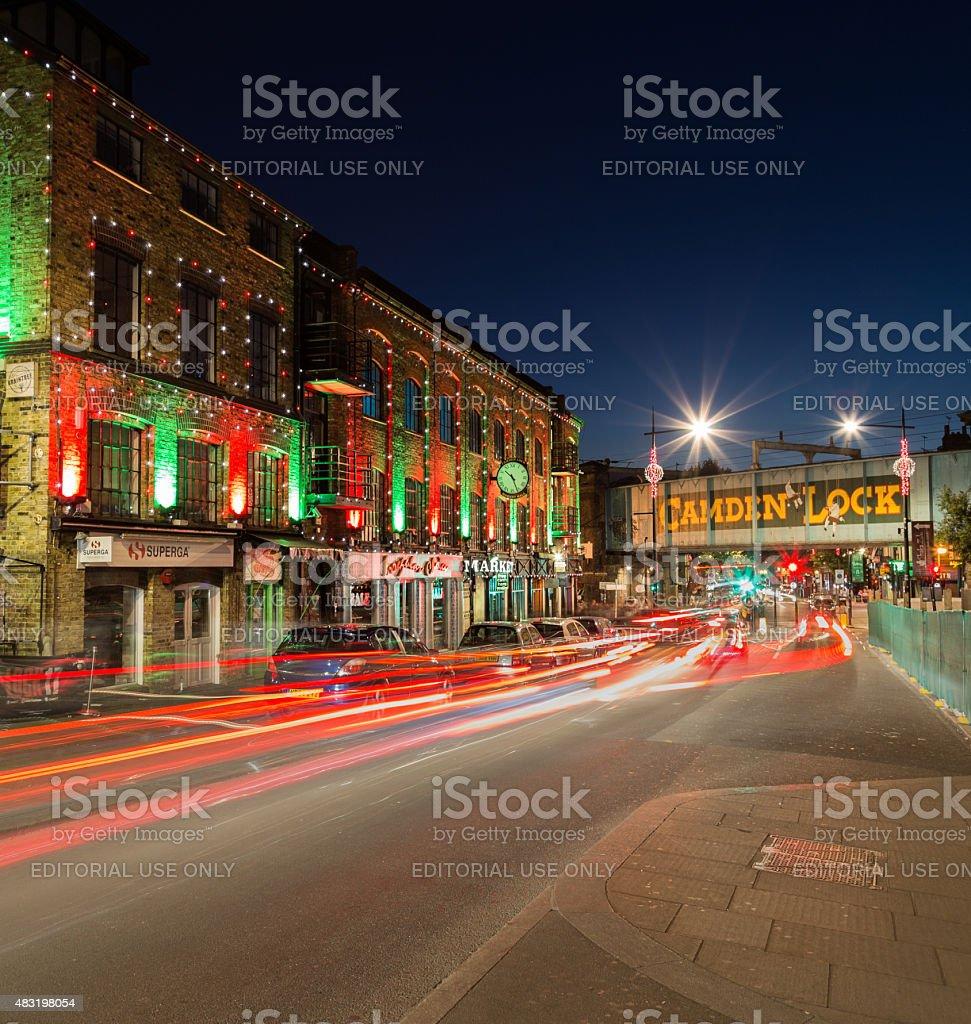 Camden Lock at Night stock photo