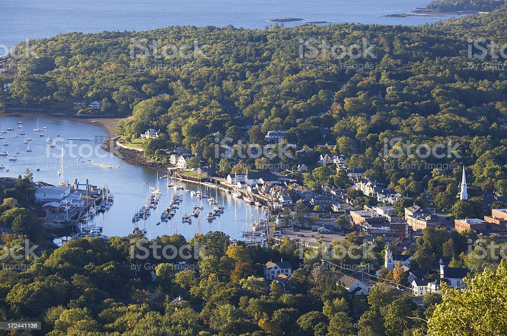 Camden Maine, town and harbor from top of Mount Battie royalty-free stock photo