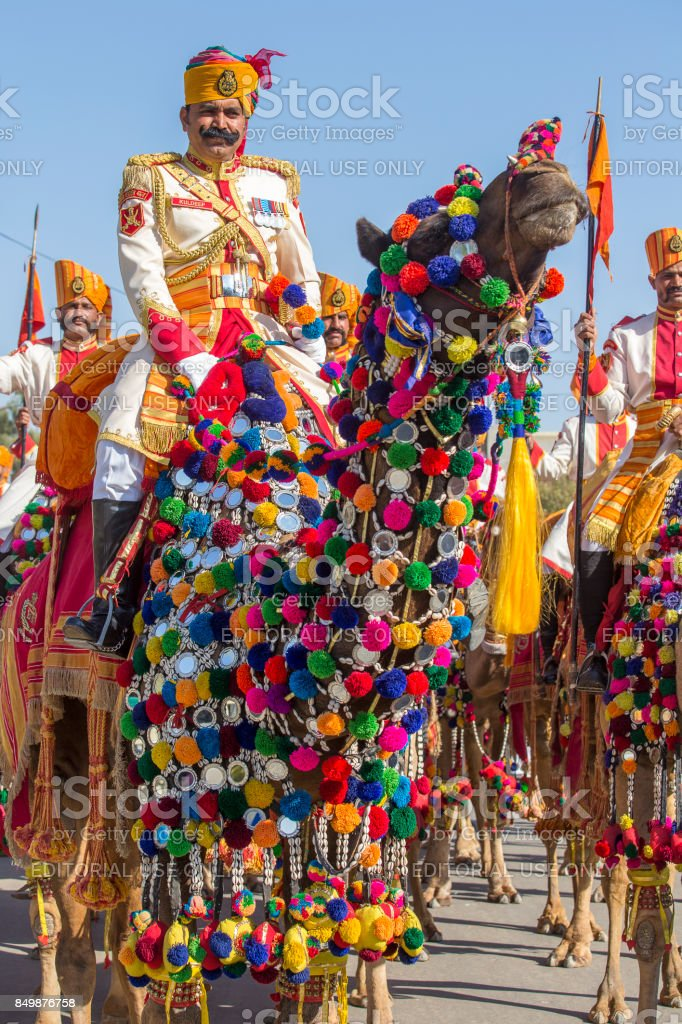 Camel And Indian Men Wearing Traditional Rajasthani Dress Participate In Mr Desert Contest As Part