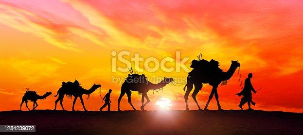 Camel caravan in desert at sunset - Image manipulation