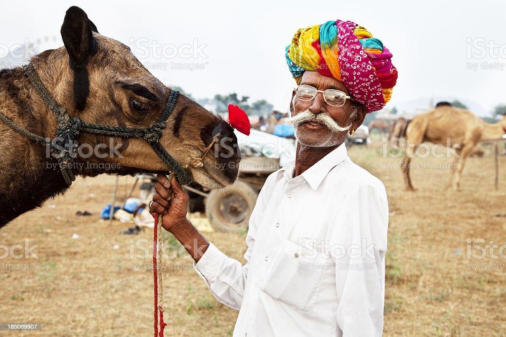 camel owner in Pushkar, India stock photo