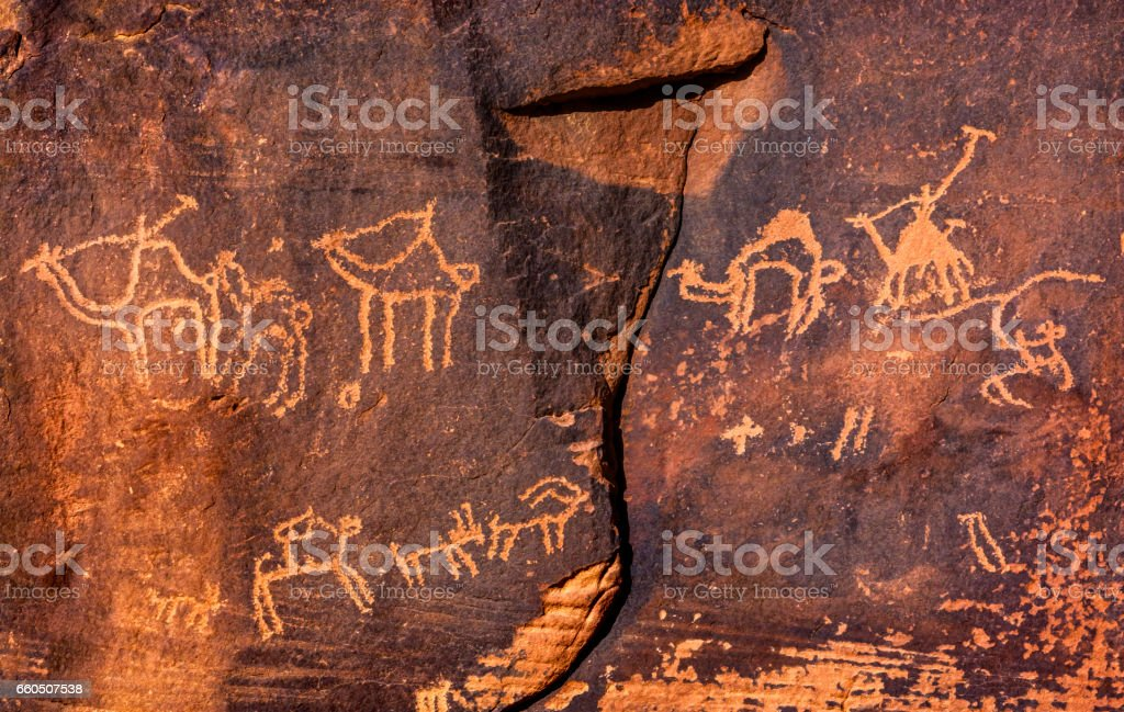 Camel Petroglyphs Valley of Moon Wadi Rum Jordan stock photo