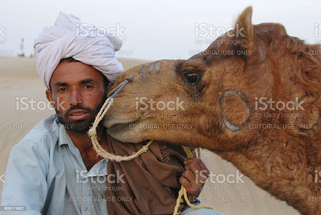 Camel rider in the Thar desert - foto de stock