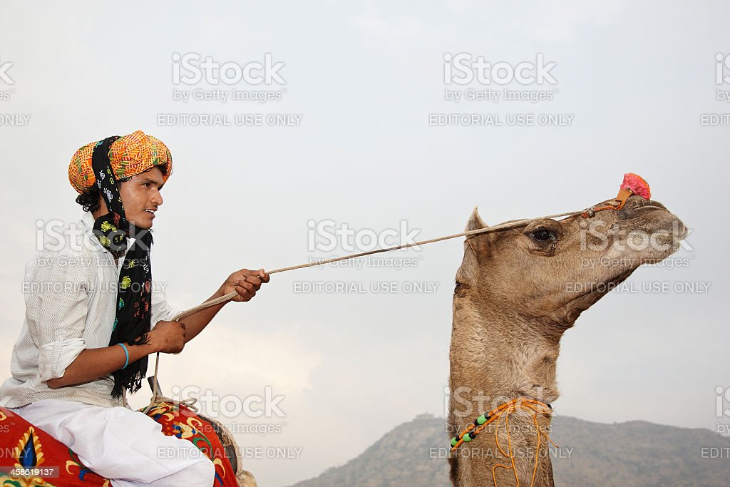 Camel rider on indian sand dunes royalty-free stock photo