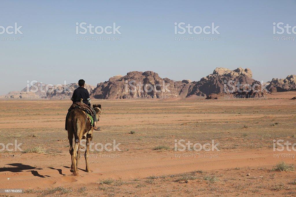 Camel riding in the Wadi Rum desert Jordan royalty-free stock photo