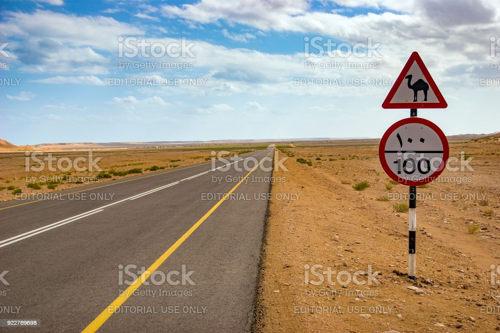 Camel road sign and speed limit road sign along a desert road in Oman