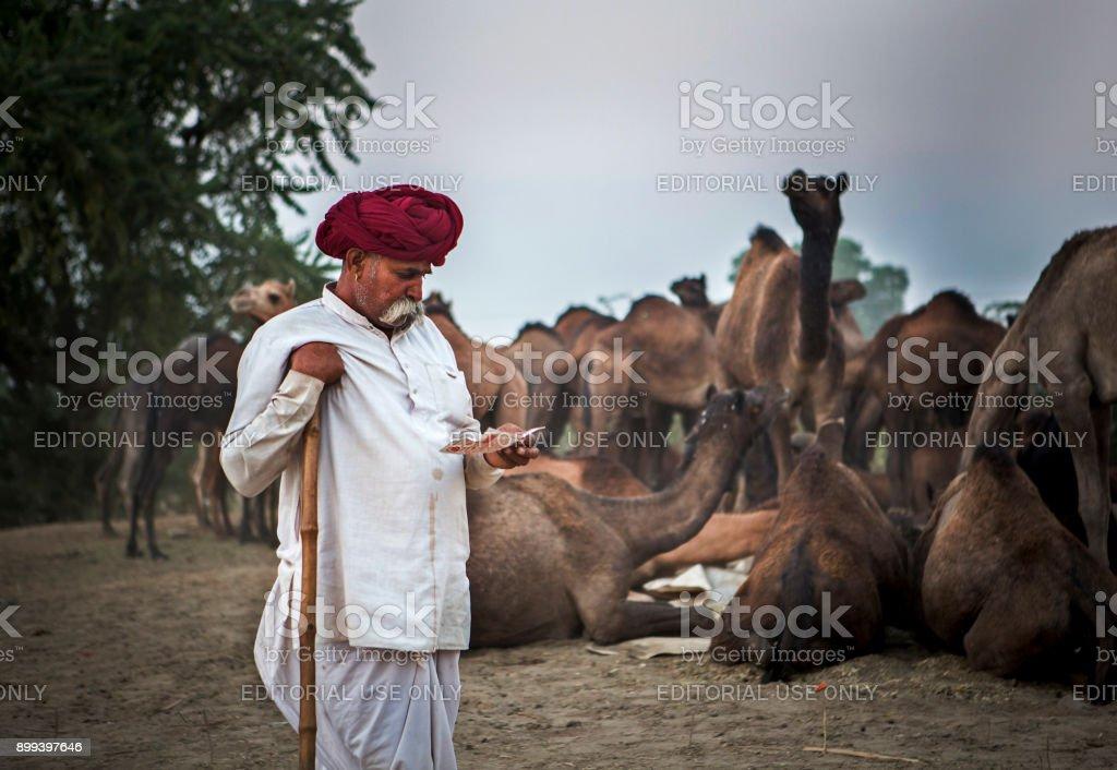 camel trader in pushkar camel fair stock photo