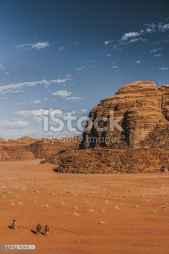 Camel train in Wadi Rum desert