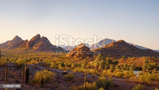 Camelback Mountain seen from Papago Park Phoenix Arizona