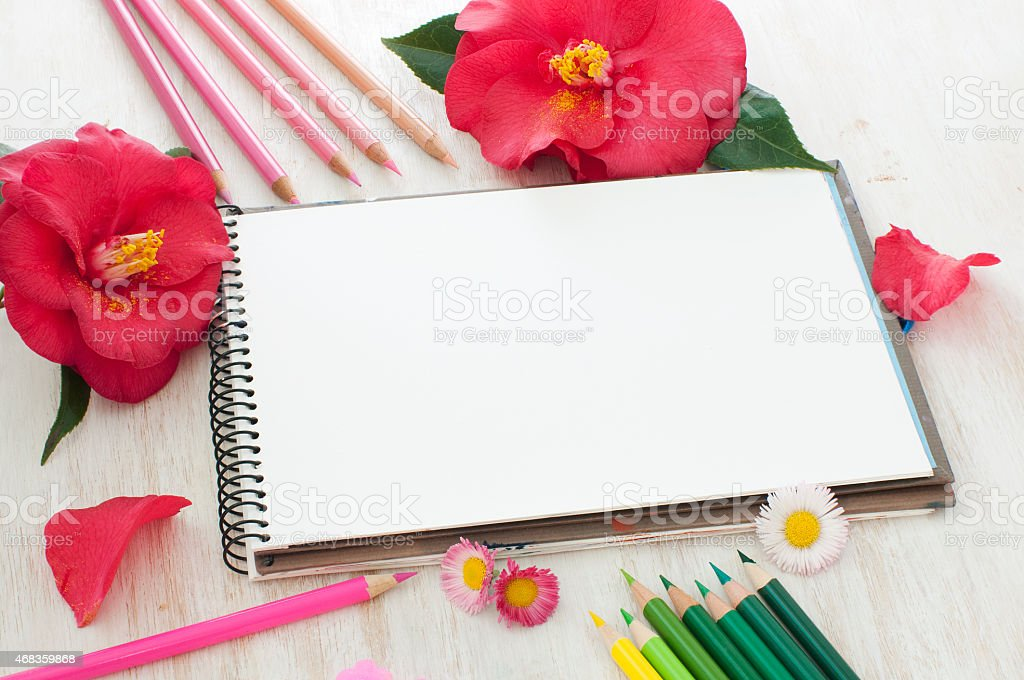 camellia flowers, pencils and sketch book royalty-free stock photo