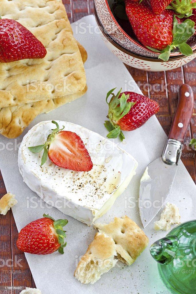 Camembert, Flatbread and strawberries stock photo