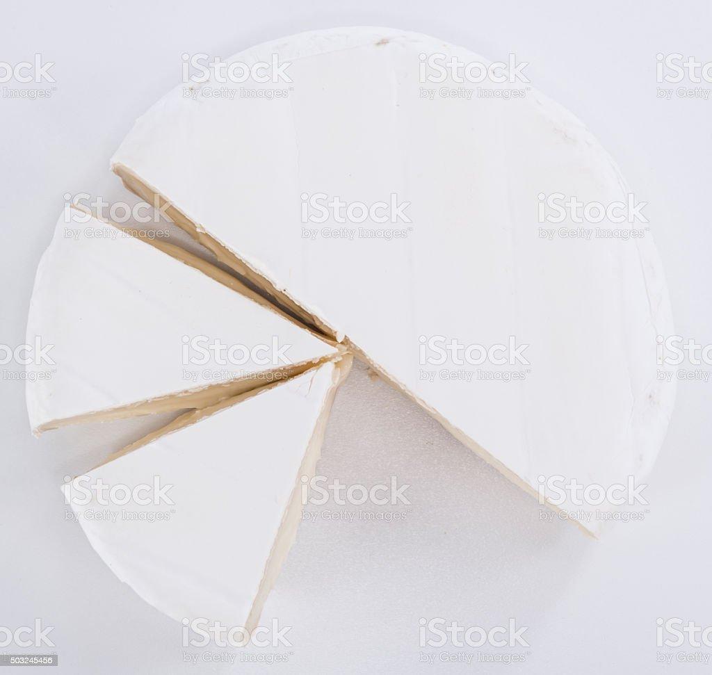 Camembert on grey background stock photo