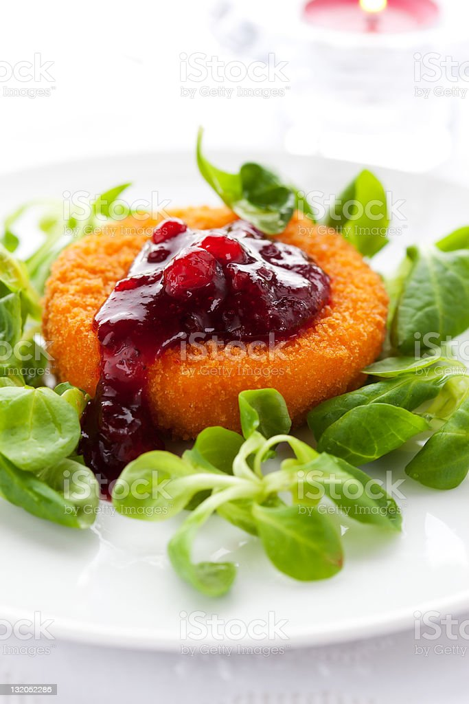 camembert with cranberry sauce stock photo