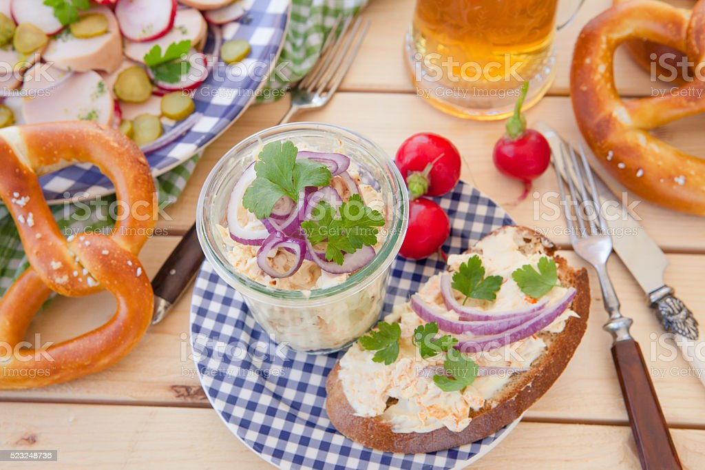 Camembert with onions and spices, Bavarioan recipe stock photo