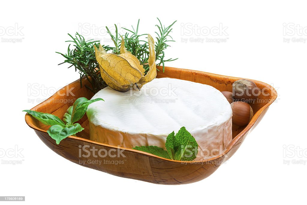 camembert witn herbs, nuts and honey royalty-free stock photo