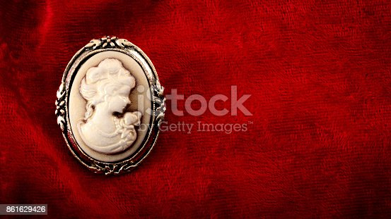 861629426 istock photo Cameo brooch eith copyspace 861629426