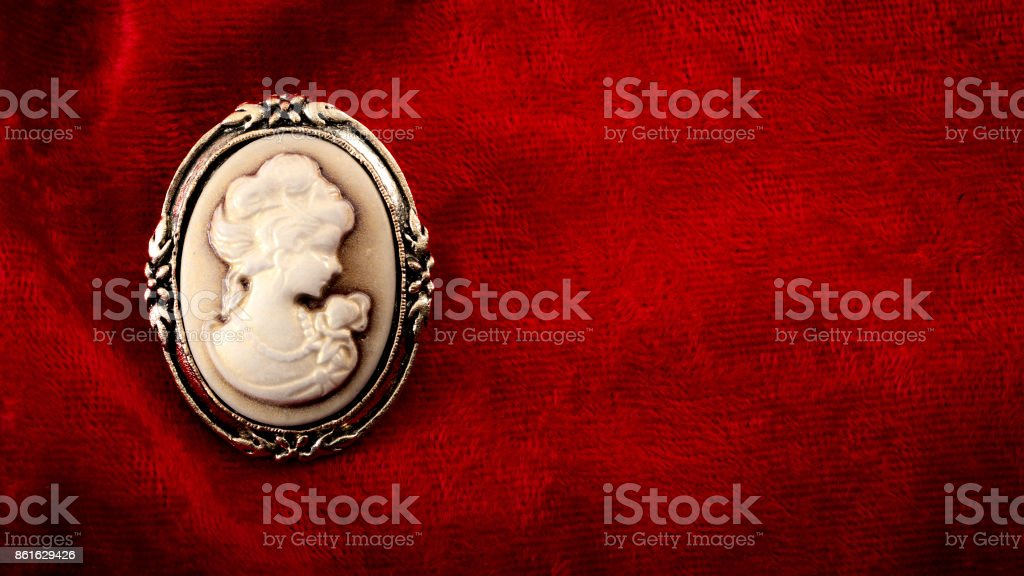 Cameo brooch eith copyspace stock photo