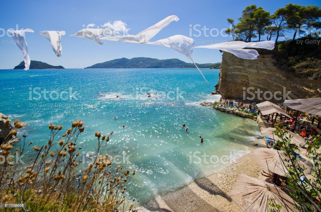 Cameo island with famous beach, Zakynthos, Greece stock photo
