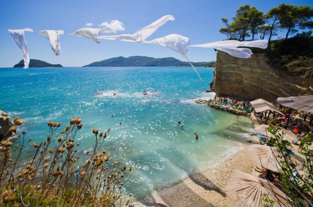Cameo island with famous beach, Zakynthos, Greece stock photo