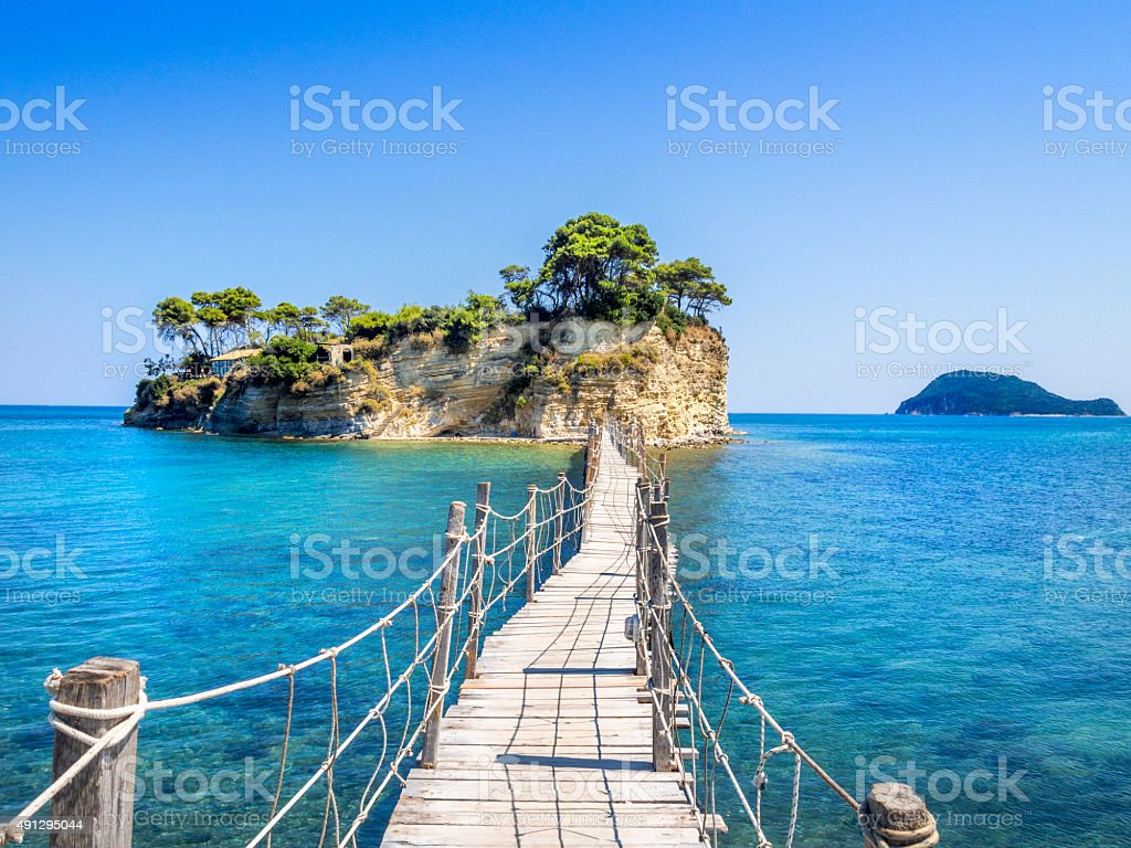 Cameo island, Zakinthos, on horizon Turtle island in Mediterranee stock photo