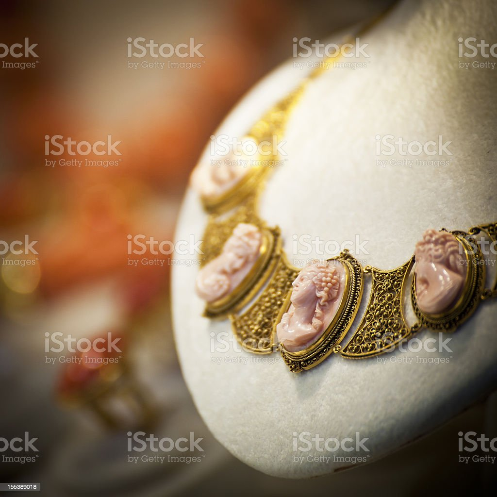 cameo necklace stock photo