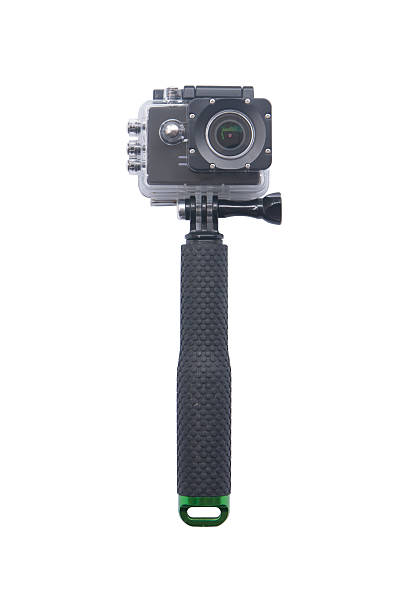 camera action cam isolated on white background. - gopro stockfoto's en -beelden