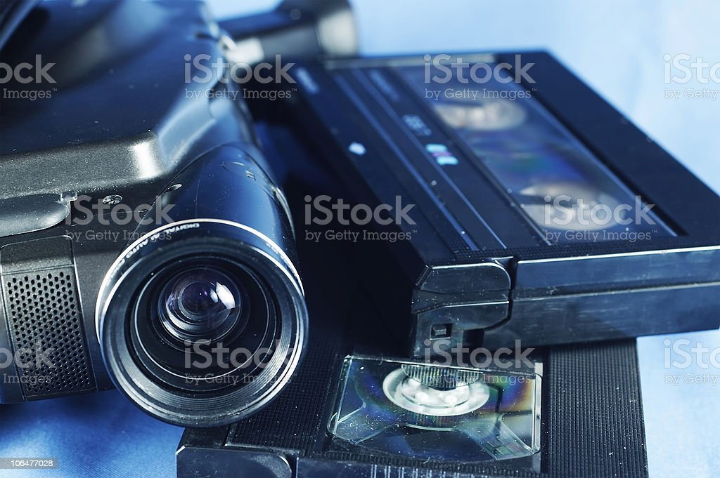 Camera and video tapes royalty-free stock photo