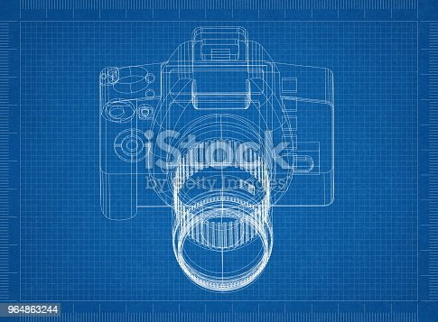 Camera Architect Blueprint Stock Photo & More Pictures of Architect