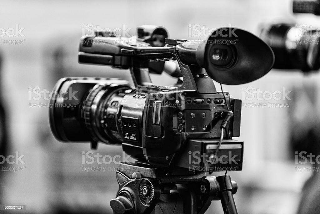 TV camera at the press conference stock photo