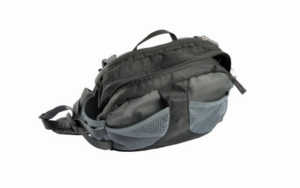 camera bag on white  background - waist bag stock photos and pictures