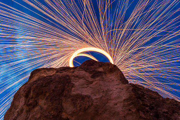 Camera bellow a steel wool spin stock photo