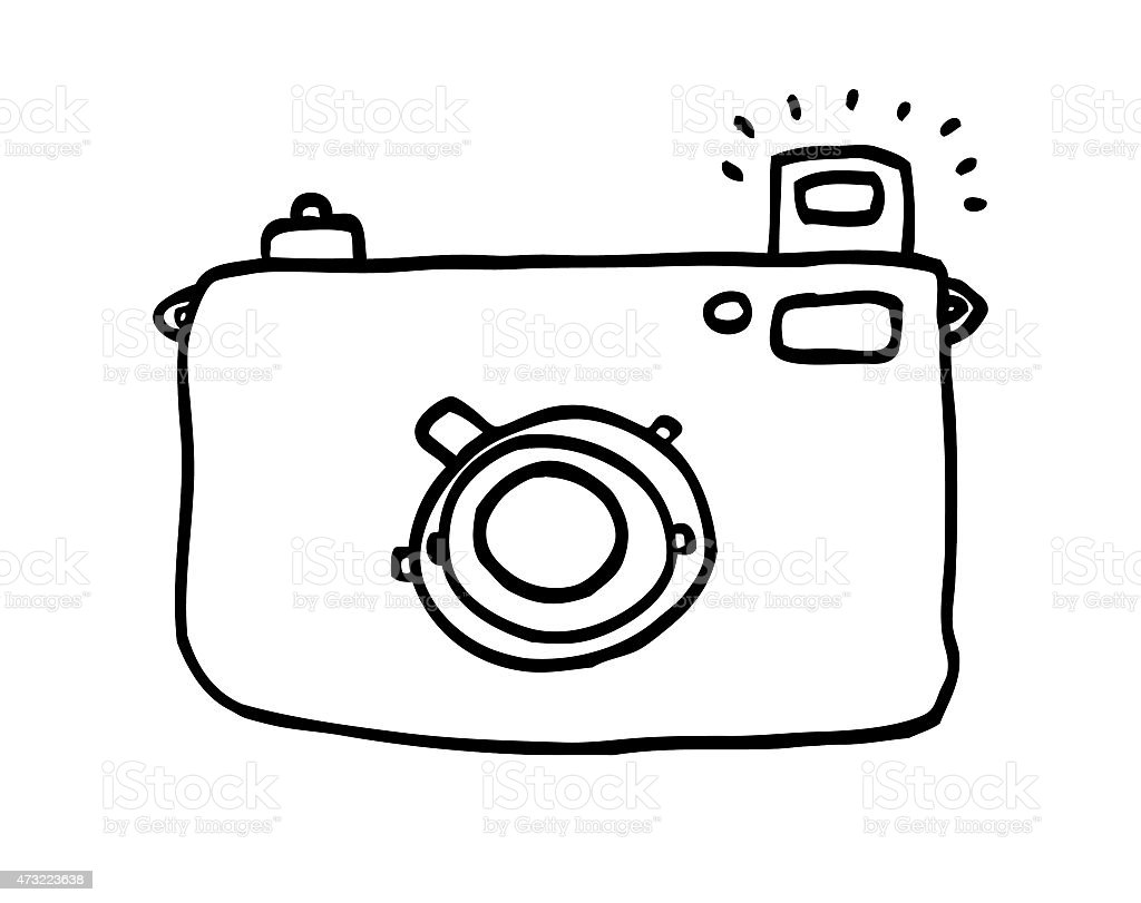 Camera Black and White Line Drawing stock photo