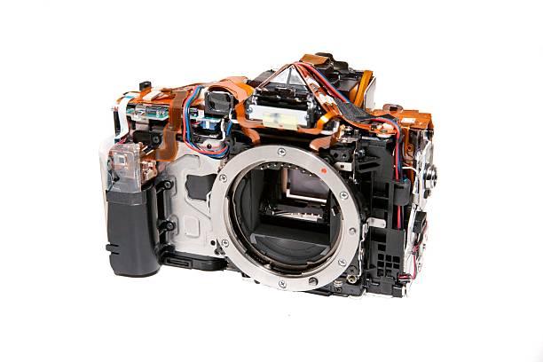 デジタル一眼レフカメラでボディをカバーする ストックフォト