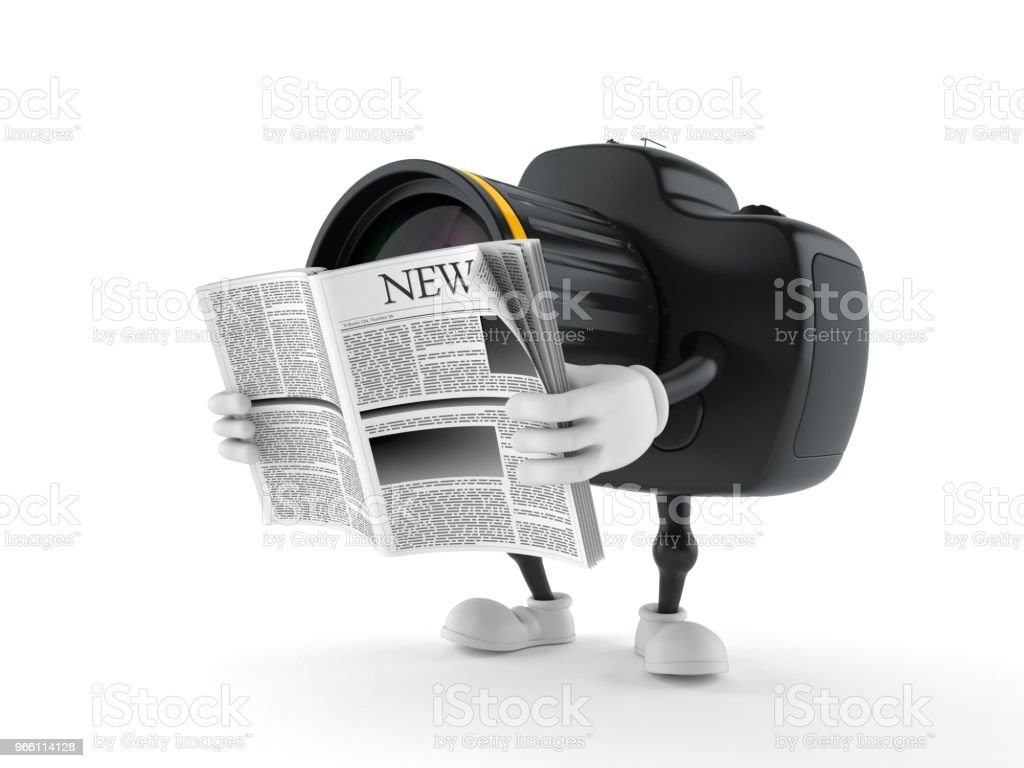 Camera character reading newspaper - Royalty-free Article Stock Photo