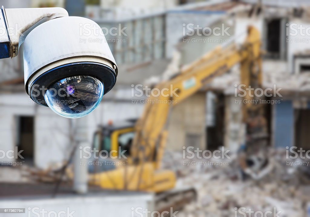 CCTV camera construction site stock photo