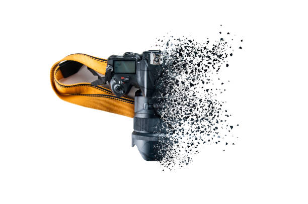 dslr camera disintegrating - disintegrate stock pictures, royalty-free photos & images