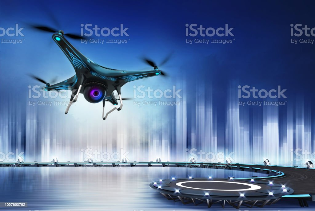 Camera drone flight over heliport modern drone technology concept 3D illustration Aerial View Stock Photo