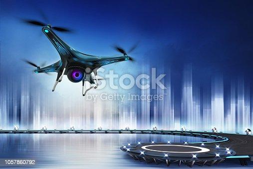 istock Camera drone flight over heliport 1057860792