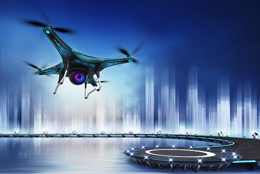 Camera Drone Flight Over Heliport Stock Photo - Download Image Now