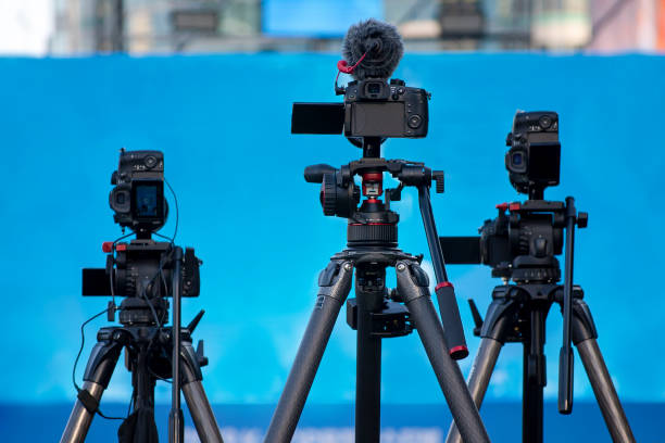 Camera equipment in preparation for concerts, press conferences or television broadcasts. stock photo